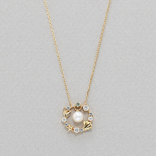 【ディズニー】6月誕生石 シルバー イエローゴールドメッキ あこや真珠 ネックレス
