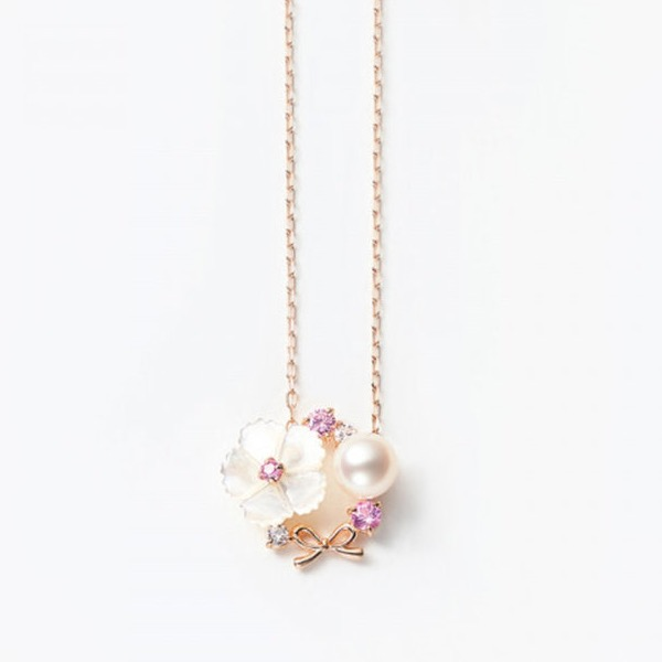 9月誕生花 K10 ピンクゴールド ナデシコ ネックレス  ¥33,000 (税込)