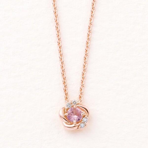 【ドラマ着用】9月誕生石 K10 ピンクゴールド ピンクサファイア フラワー ネックレス  ¥19,800 (税込)